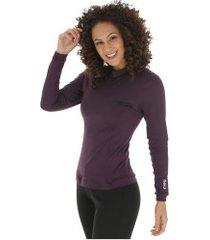 camisa térmica segunda pele manga longa nord outdoor under confort - feminina - roxo escuro