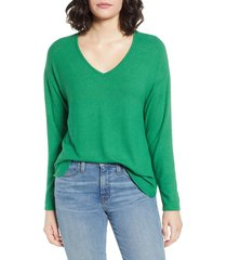 women's gibson cozy v-neck top, size x-large - green