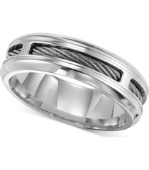 triton men's stainless steel ring, comfort fit cable wedding band