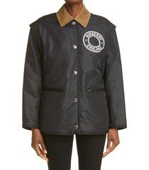 women's burberry westcliff logo reversible convertible jacket, size medium - black