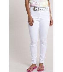 calça de sarja feminina sawary skinny pull up cintura média com cinto branca