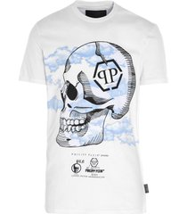 philipp plein clouds skull t-shirt