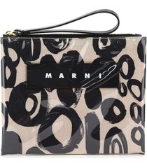 marni small glossy grip abstract drops print pouch
