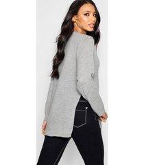 side split moss stitch tunic sweater, silver