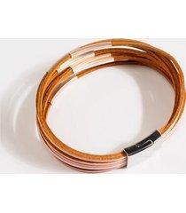 camila leather wrap bracelet - rose/gold