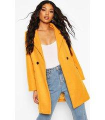 pocket detail wool look coat, mustard