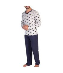 pijama masculino podiun 8173 mescla bran