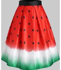 watermelon octopus print midi skirt