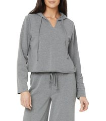 nydj crop french terry hoodie, size x-large in light heather grey at nordstrom