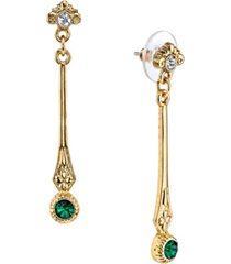 downton abbey gold-tone emerald color crystal earrings with crystal post top linear drop