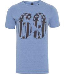 t-shirt masculina top circular - azul