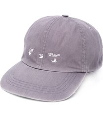 off-white logo-print baseball cap - grey