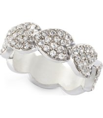 inc silver-tone crystal leaf wrap ring, created for macy's