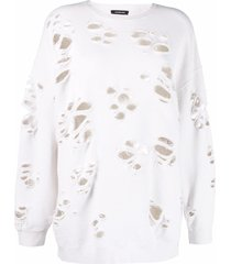 r13 distressed relaxed-fit sweatshirt - neutrals