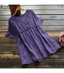 zanzea plus size summer t-shirt tops hollow out lace crochet tee shirt blusa -púrpura