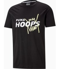 back p basketbal-t-shirt met korte mouwen heren, zwart, maat xs   puma
