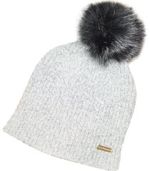roccobarocco designer women's hats, langos gray beanie w/eco-fur pom-pom
