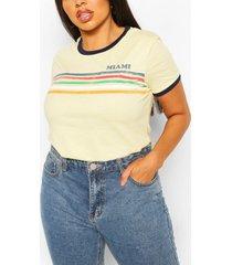 plus miami ringer t-shirt met regenboogprint en slogan, geel