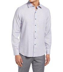 david donahue trim fit plaid dress shirt, size 15.5 in blue/tan at nordstrom