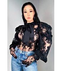 akira oxford club lace poplin blouse