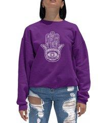 women's word art crewneck hamsa sweatshirt