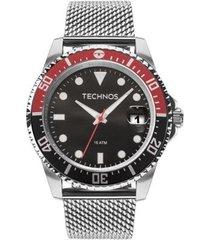 relógio masculino technos performance skymast 2415cj/0p 47mm aço prata