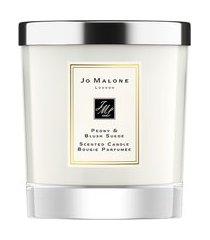 vela perfumada peony & blush suede scented candle 200g - branco