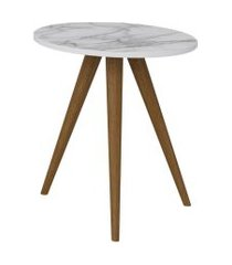 mesa lateral decorativa lyam decor retrô branco carrara