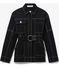 proenza schouler white label belted utility jacket black xs