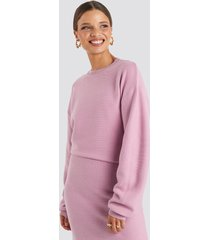 emilie briting x na-kd knitted oversized sweater - pink