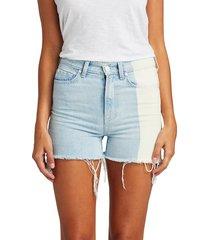 7 for all mankind women's high-waist fray hem denim shorts - blue - size 31 (10)