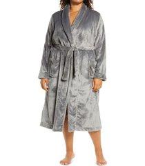 plus size women's nordstrom bliss plush robe, size 2x - grey