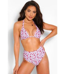 mix & match neon bloemenpatroon driehoek bikini top, wit