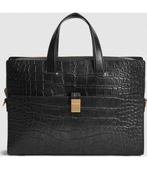 reiss blake - leather croc embossed briefcase in black, mens