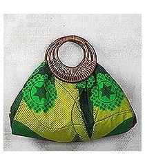 cotton and rattan handle handbag, 'colors of accra' (ghana)