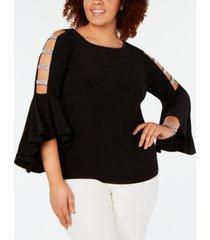 msk plus size embellished bell-sleeve top