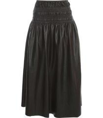 self-portrait faux leather shirred midi skirt
