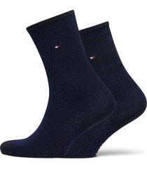 th women sock 2p lurex rib lingerie socks regular socks blå tommy hilfiger