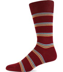 paul smith men's striped mid-calf socks - red