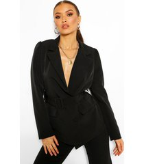 tailored double breasted self belt blazer, black