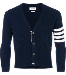 thom browne 4-bar short cashmere cardigan - blue