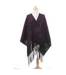 zapotec cotton rebozo shawl, 'fiesta in black and purple' (mexico)