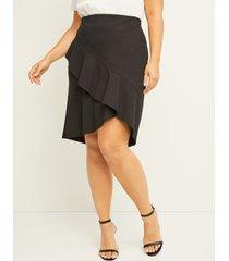 lane bryant women's cascading-ruffle ponte skirt 22 black