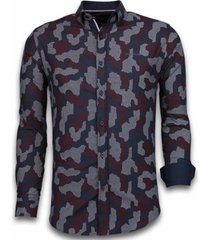 overhemd lange mouw tony backer blouse dotted camouflage pattern