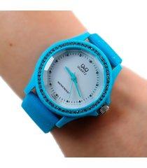 reloj q&q escarcha azul dayoshop