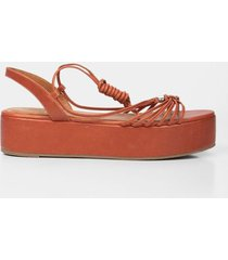 sandalia plataforma de cuero para mujer tiras delgadas