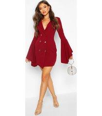 flared sleeve blazer dress, berry
