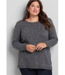 lane bryant women's pointelle-yoke sweater 18/20 black/off white