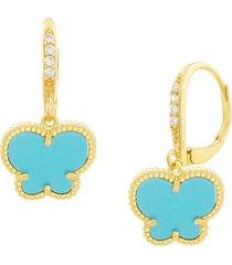 jan-kou women's butterfly 14k goldplated & turquoise acrylic drop earrings