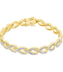 diamond accent 'v' link bracelet in fine silver plate or gold plate